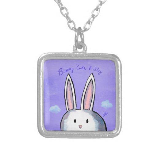 Bunny Cute & Shy Square Necklace - Purple