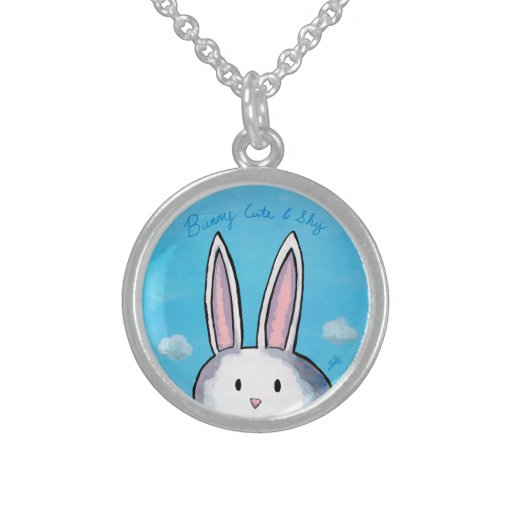 Bunny Cute & Shy Sterling Silver Necklace - Blue