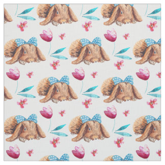 Bunny cutie polka dots bow pattern fabric