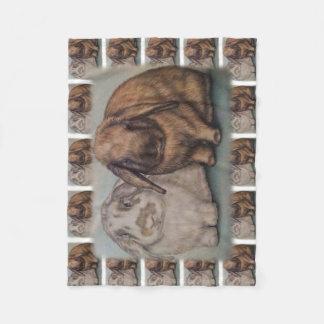 Bunny Drawing Rabbit Animal Art Fleece Blanket