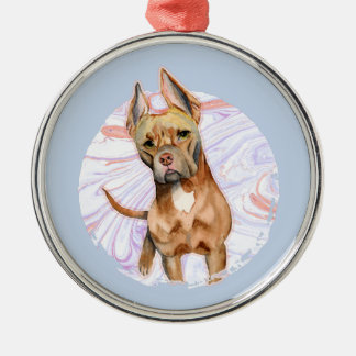"""""""Bunny Ears"""" 2 Pit Bull Dog Watercolor Painting Christmas Ornament"""