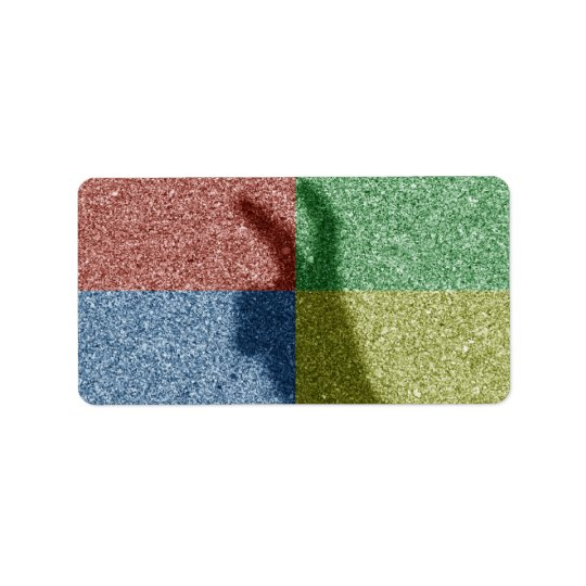 Bunny ears shadow four colour grid address label