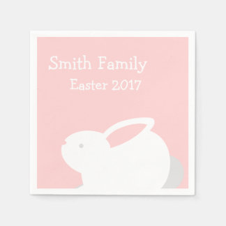 Bunny Easter Napkins in Pink with Your Family Name Disposable Serviettes