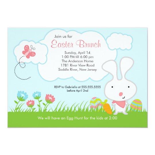 Bunny Egg Hunt Easter Brunch Party Invitation