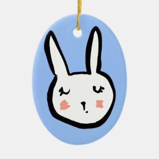Bunny Face Blue Christmas Ornament