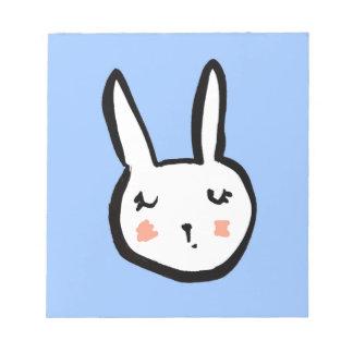Bunny Face Blue Notepad