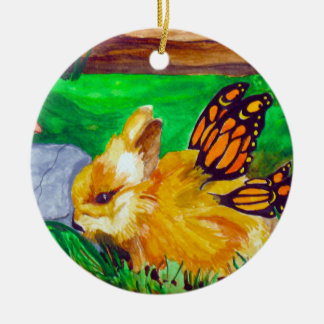Bunny Fairy Watercolor Painting Ornament