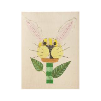 Bunny Flower Wooden Poster