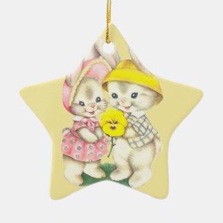 Bunny Girl+Boy Ceramic Star Decoration