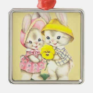 Bunny Girl+Boy Silver-Colored Square Decoration