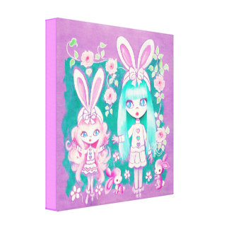 Bunny Girl Sisters Stretched Canvas Print
