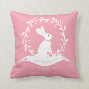 Bunny Girls  Baby Birth Stats Pillow