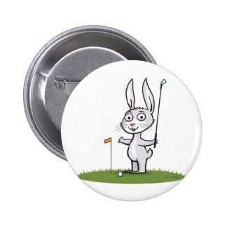 Bunny Golf 6 Cm Round Badge