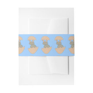 Bunny Hatching from Egg Weird Invite Belly Band Invitation Belly Band