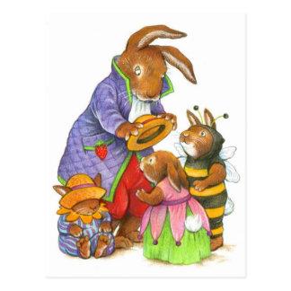 Bunny Hats by Katy Bratun Postcard