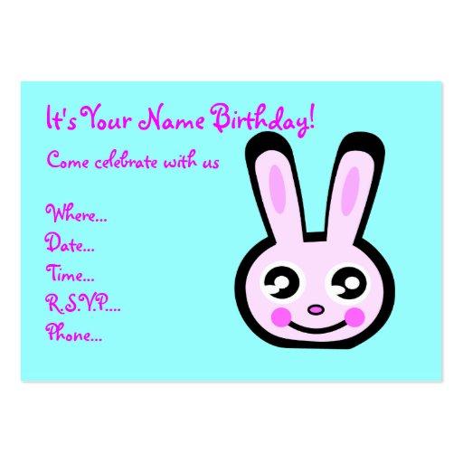 bunny head birthday invitation business card template