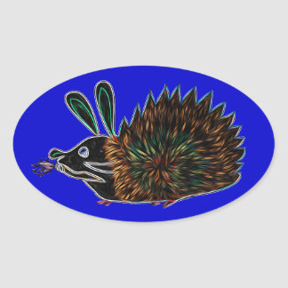 Bunny Hedgehog And Flaming Carrot Oval Sticker