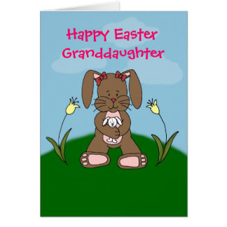 bunny holding bunny easter card
