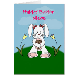 bunny holding bunny in white easter card