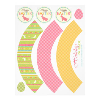 Bunny Hop Cupcake Wrapper Template 3 21.5 Cm X 28 Cm Flyer