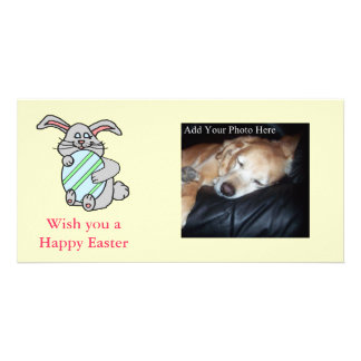 Bunny Hugging An Egg Custom Photo Card