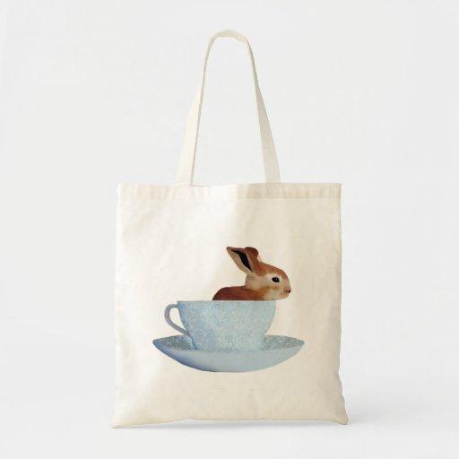 Bunny in a Teacup Bookbag Canvas Bags