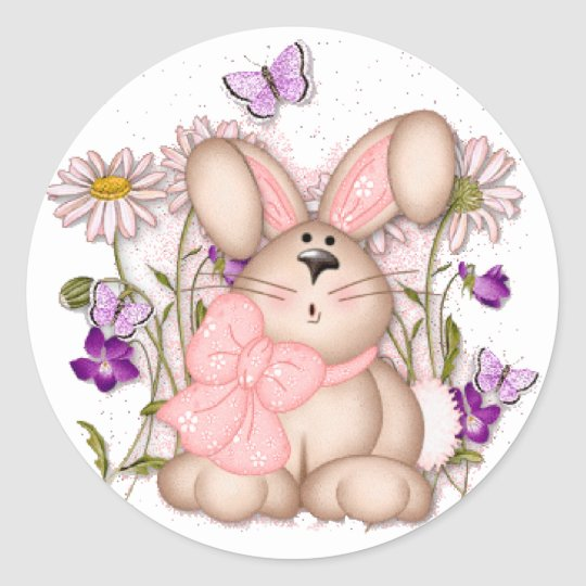 Bunny In Fields: Happy Easter Sticker