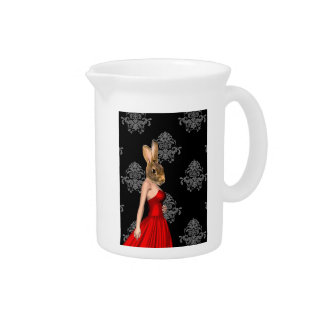 Bunny in red dress pitcher