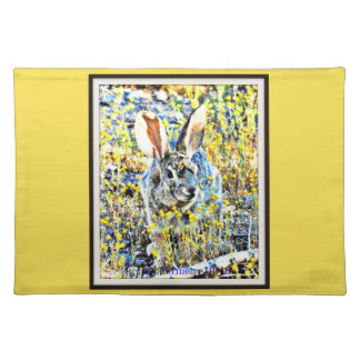 Bunny in Spring Flowers Kitchen Place Mat