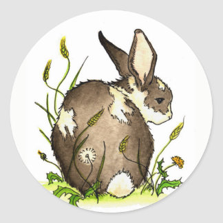 Bunny in the dandelions classic round sticker