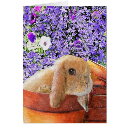 bunny in the flowerpots card