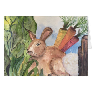 Bunny in the garden greeting card. card