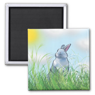 Bunny in the Grass Magnet