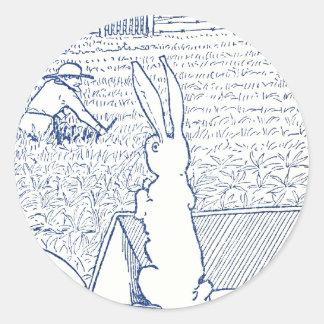 Bunny in Wheelbarrow Sees Farmer Round Sticker