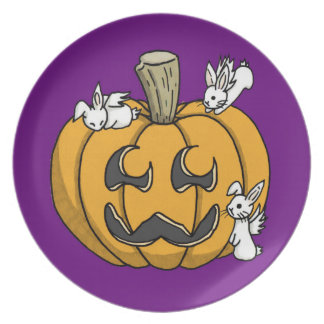 Bunny infested pumpkin plate