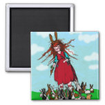 BUNNY LADY SQUARE MAGNET