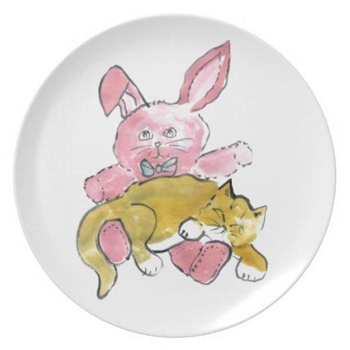 Bunny Lap Nap for Kitten Dinner Plate