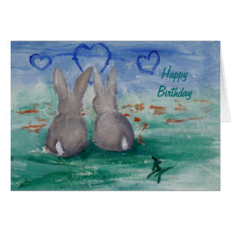 Bunny Lovin aceo Birthday Card