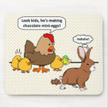 Bunny makes chocolate poop funny cartoon mouse pad