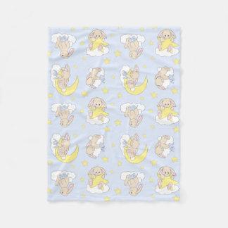 Bunny Moon Star  Cloud Woodland Animal Boy Nursery Fleece Blanket