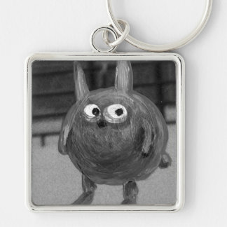 bunny noir Silver-Colored square key ring