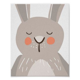 Bunny nursery art print Woodland Some bunny