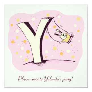 "Bunny on Swing Letter Y Party Invite 5.25"" Square Invitation Card"
