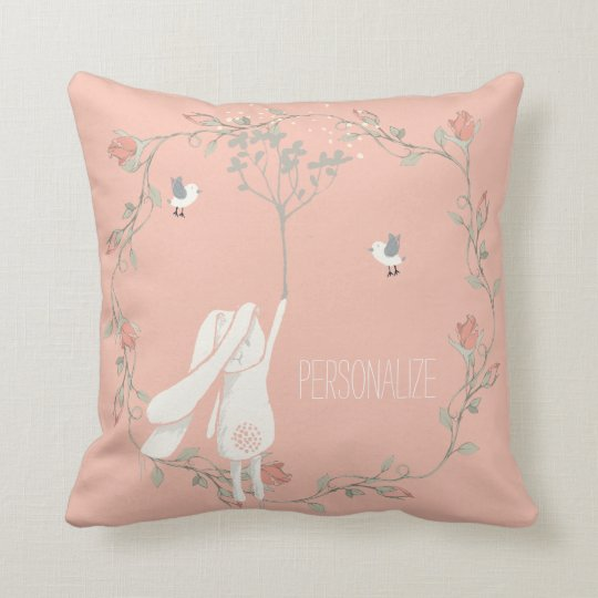 Bunny On The Breeze Floral Wreath Personalised Cushion