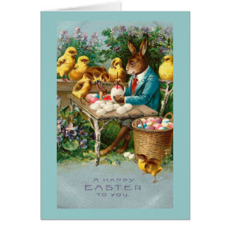 Bunny Painting Easter Eggs Vintage Card
