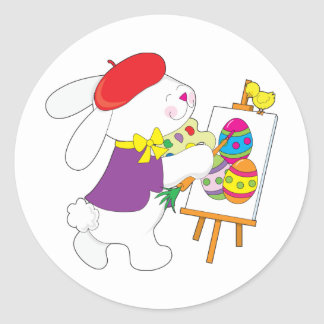 Bunny Painting Eggs Stickers