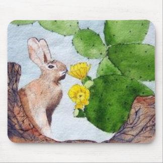 Bunny Peeking Through Cactus Mouse Mat