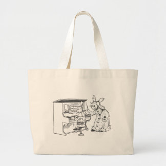 Bunny Piano Teacher & Her Student Large Tote Bag