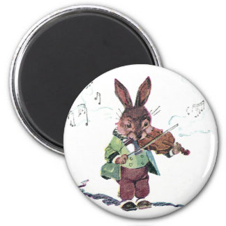 Bunny Playing the Violin 6 Cm Round Magnet