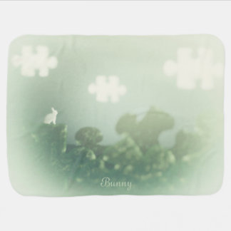 BUNNY Puzzle Land Custom Name Pastel Green Baby Blanket